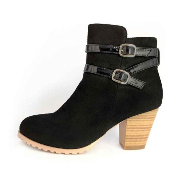 Black boots with buckles and heels