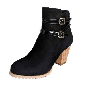 Small size petite feet classic black boots with buckle shoes block heels for women in Australia Trudymaree