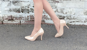 Nude pumps for petite feet